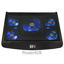 "Laptop Cooling Pad 5 Fan Adjustable Stand Blue LED USB Port For Up to 15.4"" (T5)"