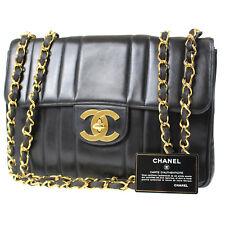 CHANEL Mademoiselle Big Chain Shoulder Bag Black Leather Vintage Auth #C370 W