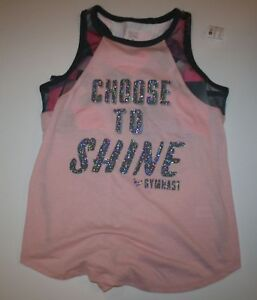 New Justice Girls Athletic Sports Bra Attached Tank Top 18 year Choose To Shine