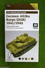 Vallejo AFV PITTURA sistema tedesco Afrika Korps Acrilico Vernice Aerografo Set 78409