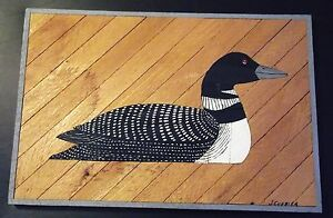 Black & White Duck / Loon Painted on Wood by J. Currier, 21 Inches by 14 Inches