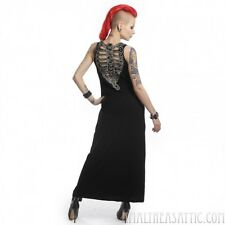 Chills Down My Spine Maxi Dress Open Back Skeleton Bones Gothic Summer Medium
