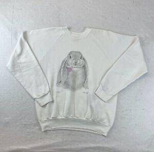 Vintage 90s Oneita Rabbit White Sweatshirt Crewneck Made in USA Size XL