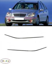 MB C-CLASS W203 2000 - 2007 NEW FRONT BUMPER CHROME MOULDING TRIMS LEFT + RIGHT
