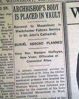 ARCHBISHOP LEON TOURIAN Armenian Apostolic Church Murder BURIAL 1933 Newspaper