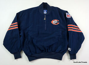 VTG NFL Chicago Bears Starter Windbreaker Jacket 1/4 Zip USA Men's XL Rare