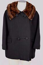 Vintage Forstmann Black Fur Collar Jacket Coat 3/4 Length Sleeves Size M/L