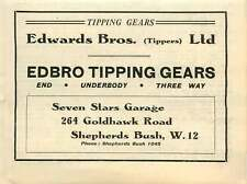 1946 Edwards Brothers Tippers Seven Stars Garage Shepherd's Bush Small Ad
