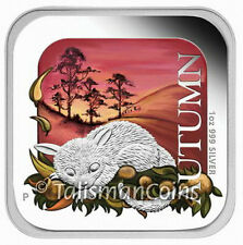 Australian 2013 Four Seasons Square Shaped #2 Autumn Possum $1 Pure Silver Proof