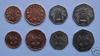 UGANDA - 4 DIFFERENT UNC COINS SET: 1 - 10 SHILLINGS