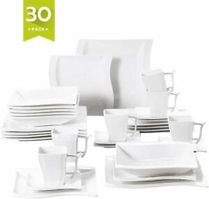 MALACASA Flora Porcelain Dinner Set Kitchen White Dessert Soup Plates Bowls Mugs