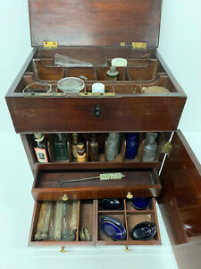 Antique Victorian Mahogany Apothecary Cabinet  Medicine Chest  Medical Doctors
