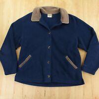 vtg LL BEAN fleece corduroy shirt jacket jacket LARGE usa made blue 80s 90s
