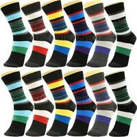 12 Pairs Yst12-3 New Cotton Men Striped Style Dress Socks Size 10-13 Multi Color