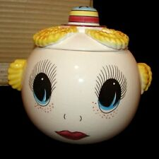 RARE MIB Vintage Royal Sealy Google Eye Pixie Girl Cookie Jar Canister