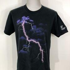 Vintage 90s Lightning Bolt Clouds Faded Black T Shirt Men's Medium Science Tee
