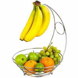 Chrome Banana Hanger Tree Holder Fruit Storage Bowl Basket Stand Hook Orange New