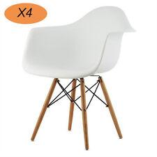 4X Esszimmerstuhl Büro Sessel Kunststoff Wohnzimmer Wohnzimmer weiß Cafe Stühl