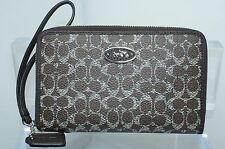 New Coach Signature Universal Wristlet Wallet Pouch Bag Multi Brown