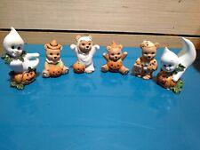 Vintage Set Of 4 Homco Halloween Bears Figurines 5311 & 2 Ghosts Jack O Lantern