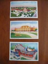 New York World's Fair 1939 Lot 3 Postcards Railroad Fountain Lake Cosmetics Bldg