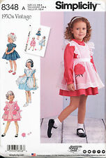 SIMPLICITY SEWING PATTERN 8348 TODDLERS SZ ½-4 RETRO/VINTAGE '50 DRESS, PINAFORE