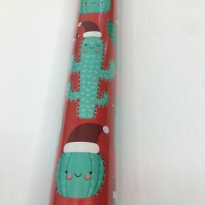 Xmas Cactus Succulent Lover Santa Hat Holiday Gift Wrap Paper Roll 110 Sq Ft