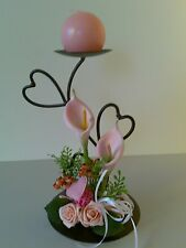 BALL CANDLE HOLDER decorated with hearts & pink tulips & rose Gift Wedding*2