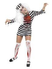 Ladies Adult Zombie Convict Costume Prisoner Halloween Fancy Dress Outfit Small