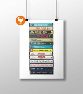 Pink Floyd Poster: Cassette Print, Pink Floyd Original Albums, Fan, Gift, Art,