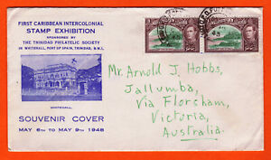 TRINIDAD AND TOBAGO - 1948 - FIRST CARIBBEAN INT STAMP EXPO - COVER WITH INSERT