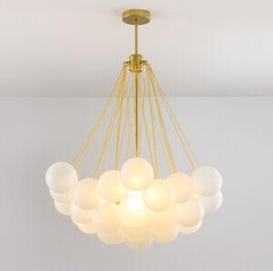 Nordic Gold Metal Glass Bubble Ball Pendant Light Magic Bean Chandelier Decor