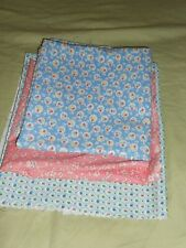 VINTAGE PRETTY  MIXED TINY FRUIT BLUE COTTON & PINK TINY FLORAL COTTON UNUSED