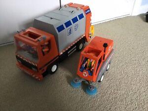 Playmobil City Recycling Truck Set 4418 & Road Sweeper 4045 Bundle X2 Vehicles