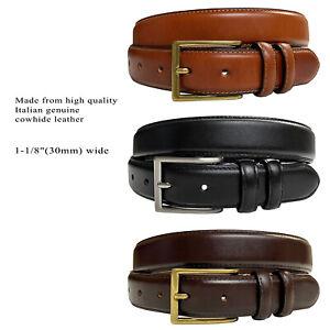 """Men Oil-Tanned Genuine Leather Italian Dress Belt 1-1/8""""(30mm) Wide"""