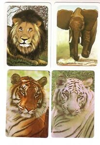 Beautiful Set 4 x Tigers - Lion and  Elephant -- Swap Playing Cards Mint