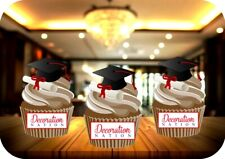 Graduation Mortar Board & Scroll 12 Edible STANDUP Cake Toppers Decoration Uni