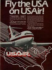 1980 USA USAir Airways 727 Plane Airplane Map Vintage Color Print Ad
