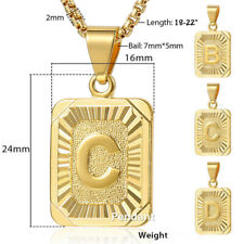 Letter A-Z Gold Filled Chain Pendant Necklace Box Link Jewelry for Mens Womens