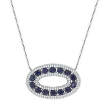 4.81 TCW 14K White Gold Natural Blue Sapphire Diamond Oval Pendant Necklace