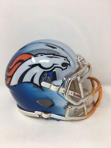 Broncos custom three tone CHROME  riddell speed mini helmet