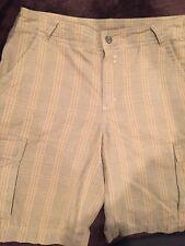 Patagonia Men's Cargo Shorts Organic Cotton Size 34 Outdoor Golf Striped Khaki