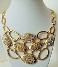 ABS ALAN SWARTZ Crystal Statement Collar Necklace Brushed Gold New w/ Tags $190.