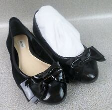 Dune Women's Bowtie Black Patent Toe Shoes Flats Plus Shoe Bag - Size AU 7.5