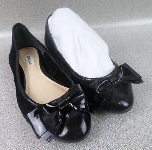 Dune Women's Bow-tie Black Patent Toe Shoes Flats Plus Shoe Bag - Size AU 7.5