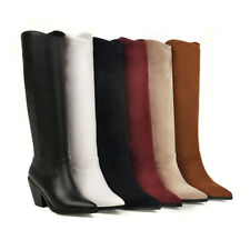 Women's Ladies Western Chunky Heel Outwear Pointy Toe Mid Calf Boots Size 34-46