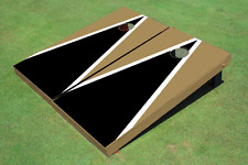 Black And Dark Gold Matching Triangle Custom Cornhole Board