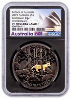 2019 Australia Echoes Tasmanian Tiger 1 oz Silver Gilt NGC PF70 FR Blk SKU57641