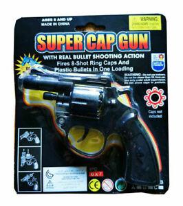 Super Cap Toy Gun Revolver 8 Shot Ring Caps Pistol Handgun Toy For Kids