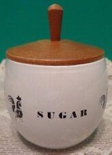 Rooster Sugar Bowl Vtg Hen Chicken Black White Wooden Top MCM Retro